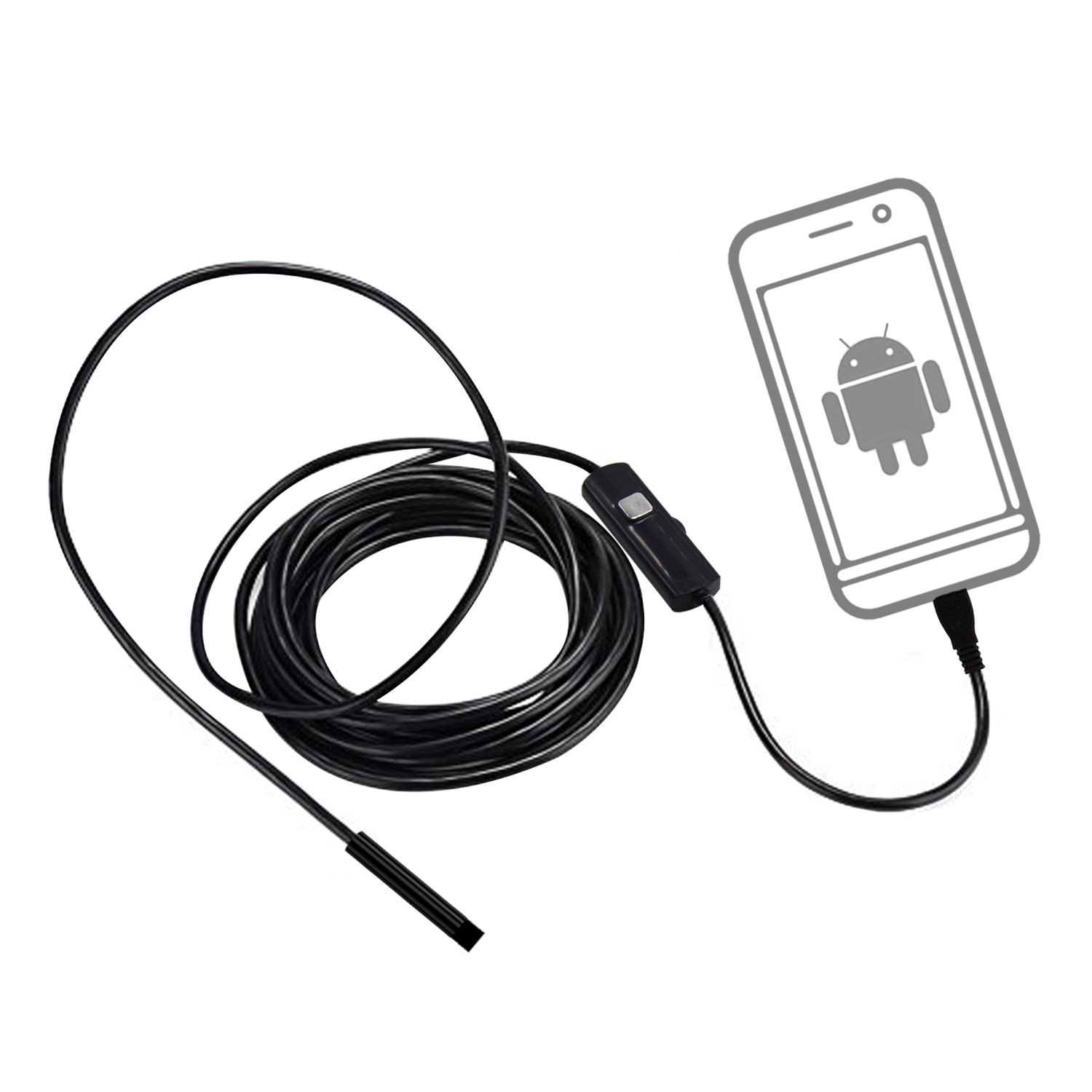 Yoolove USB Android Endoscope 5.5mm Len IP67 Waterproof Micro Inspection Camera Borescope Snake Tube Pipe With 6 LED for Samsung Apple Phone With OTG and UVC (5m)