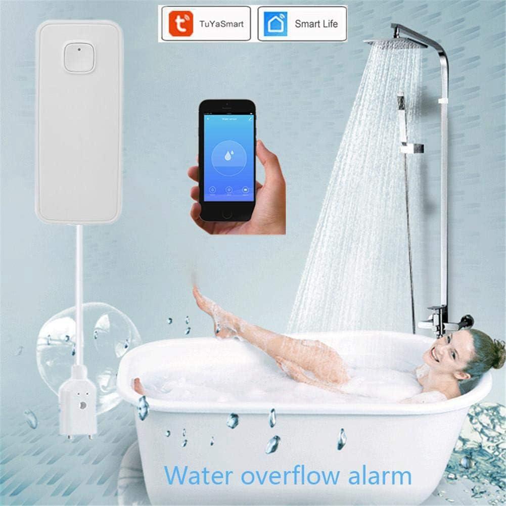 Nrpfell Smart WIFI Sensor de Fugas de Agua Alarma Tuya App Control Sistema de Seguridad para el Hogar Sensor de Fugas de Agua de Desbordamiento Independiente