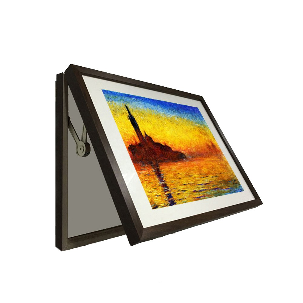 Kreative Arts - Hidden Electrical Switch Box Framed Art Impressions at Sunrise By Claude Monet Canvas Print Reproductions Painting Frame Easy to Hang (L 27x19inch(68x48cm), Brown)