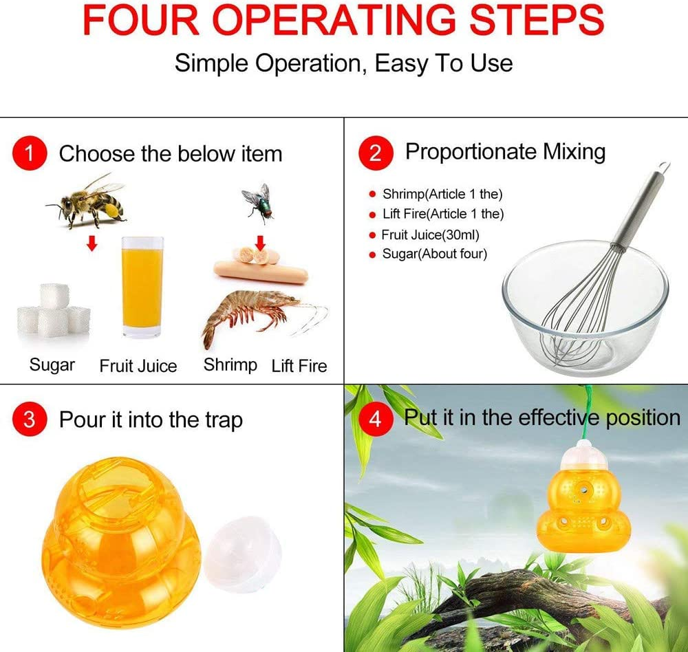 taxiner 10Pcs Reusable Home Garden New Bee Trap Hornets Catcher Wasp Insects Killer
