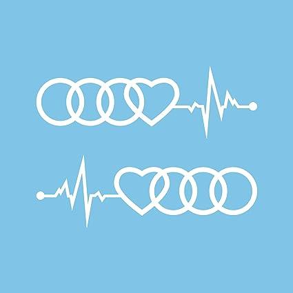 Autodomy Pegatinas Compatible con Audi Aros Corazón Cardio Pack 2 ...
