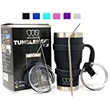 30 oz Tumbler - 6 Piece Stainless Steel Insulated Water & Coffee Cup Tumbler with Straw, 2 Lids, Handle - 18/8 Double Vacuum Insulated Travel Flask (Black, 30oz)