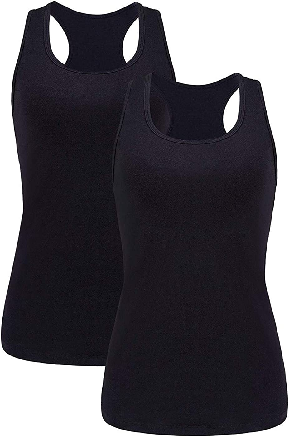 beautyin Women Basic Racerback Tank Top Shelf Bra Undershirt Wide Strap Yoga Top