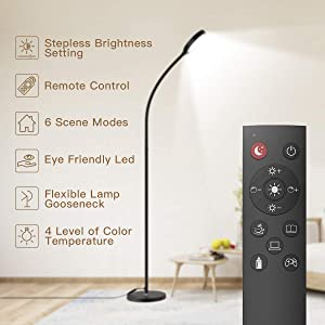 Floor Lamp, Remote & Touch Control 2500K-6000K LED Floor Lamp for Bedroom and 4 Color Temperatures Standing Lamp with Stepless Dimmer, dodocool Standing Light for Living Room Bedroom Office Reading