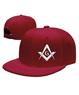 Adjustable Baseball Hat Trucker Hat Unisex/Men/Women Freemason Logo Square and Compass 1 Red