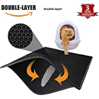 Pieviev Cat Litter Mat Trapper - 76 x 61 cm Honeycomb Double Layer Tapis Litiere Chat -Traps Messes, Easy Clean and Durable, Non Toxic Trapper Rug Suitable for Litter Tray(Black)