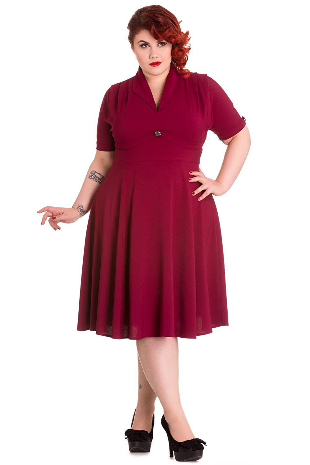 Plus Size Retro Dresses Hell Bunny Plus Size 60s Vintage Style Jocelyn Flare PartyDress $87.00 AT vintagedancer.com