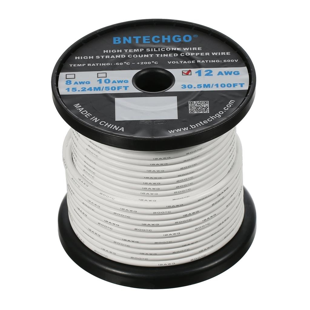 BNTECHGO 12 Gauge Silicone Wire Spool White 100 feet Ultra Flexible High Temp 200 deg C 600V 12AWG Silicone Rubber Wire 680 Strands of Tinned Copper Wire Stranded Wire for Model Battery Low Impedance bntechgo.com