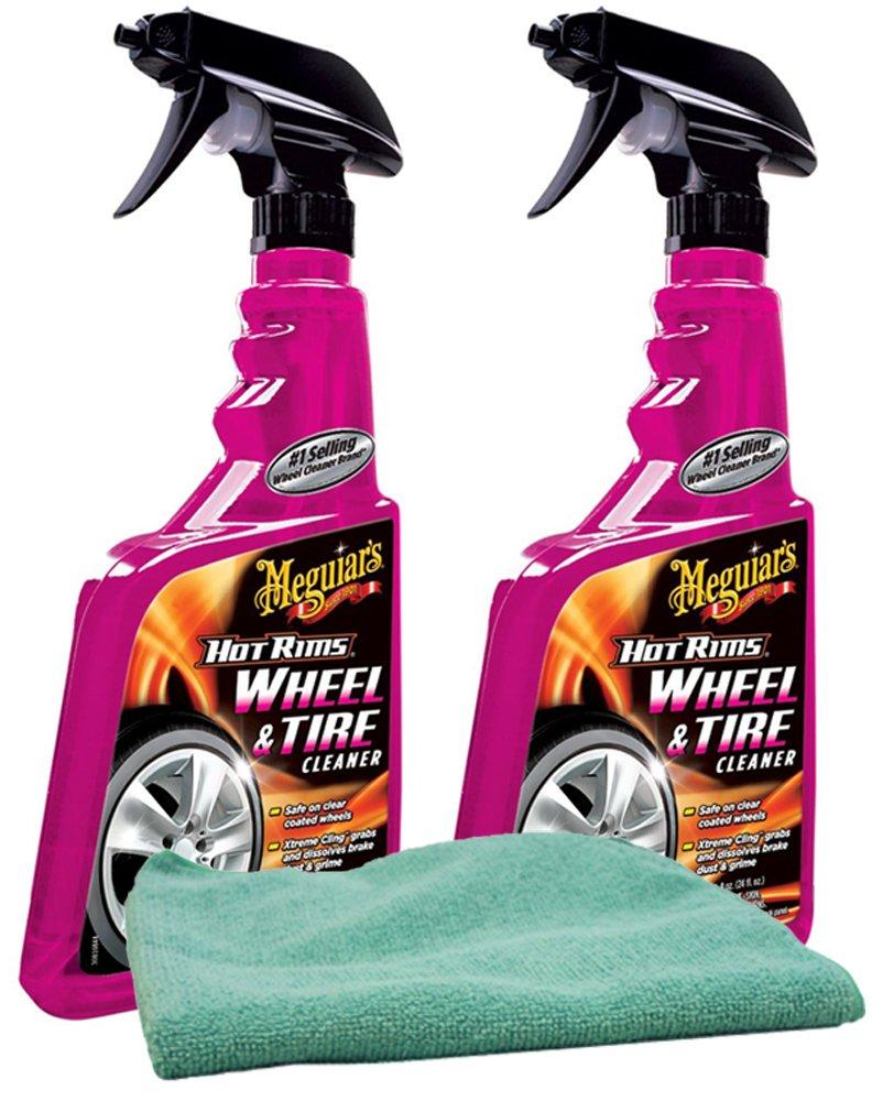 Meguiar's Hot Rims Wheel & Tire Cleaner (24 oz.) Bundle with Microfiber Cloth (3 Items) Meguiar' s