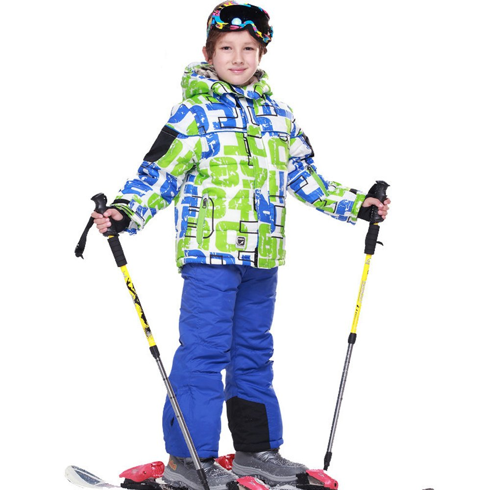 STIME Children's Boys Girls Ski Suits with Padded Cotton Trousers and Winter Jackets