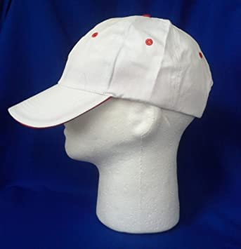 fc9f4b97 Amazon.com : White With Red Eyelets Plain Solid Cotton Style Baseball Ball Cap  Caps Hat Women Adjustable : Baby
