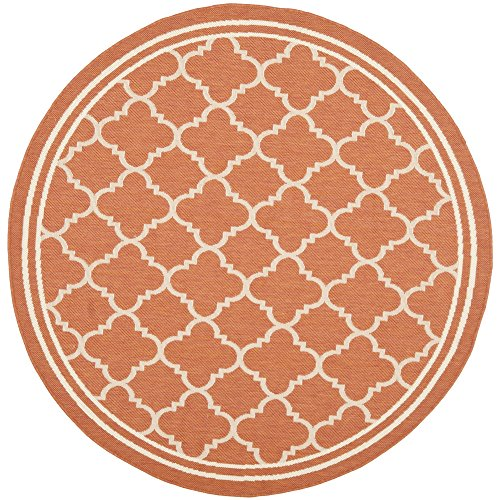 Safavieh Courtyard Collection CY6918-241 Terracotta and Bone Indoor/ Outdoor Round Area Rug (5'3