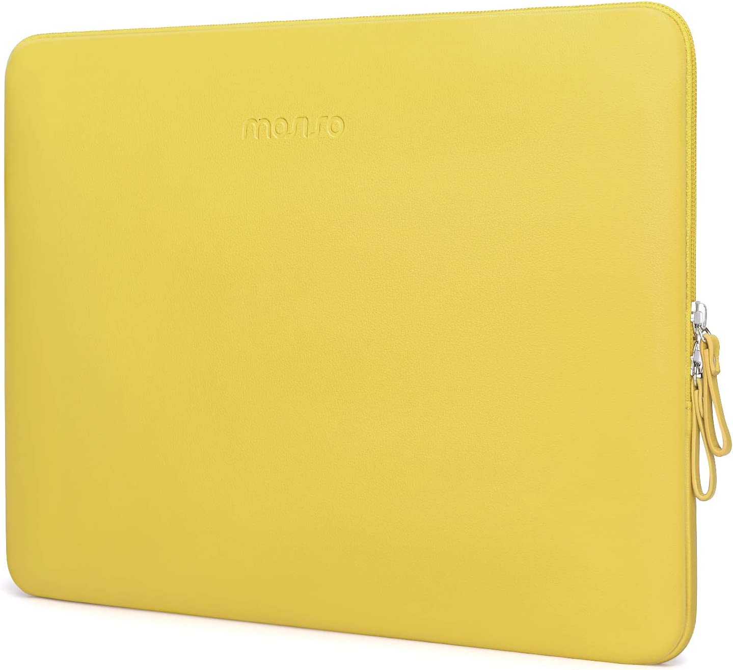 MOSISO Laptop Sleeve Compatible with 13-13.3 Inch MacBook Air/MacBook Pro Retina/2019 2018 Surface Laptop 3/2/Surface Book 2, PU Leather Super Padded Bag Waterproof Protective Case, Yellow