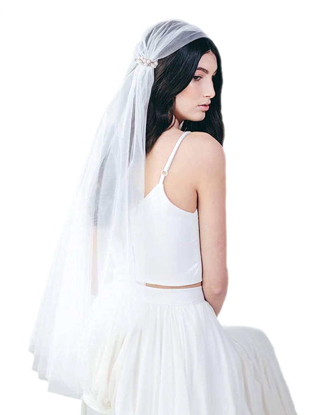 Aukmla Wedding Veil 1 Tier Bridal Fingertip Veil with Comb and Soft Tulle (45 Inches) 115 CM (Ivory)