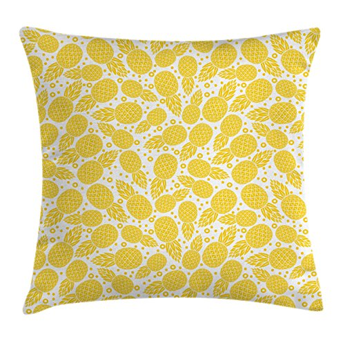 Yellow Decor Throw Pillow Cushion Cover by Ambesonne, Yellow Cute African Pineapple Fruit Pattern with Dots and Little Circles, Decorative Square Accent Pillow Case, 18 X18 Inches, White and Yellow