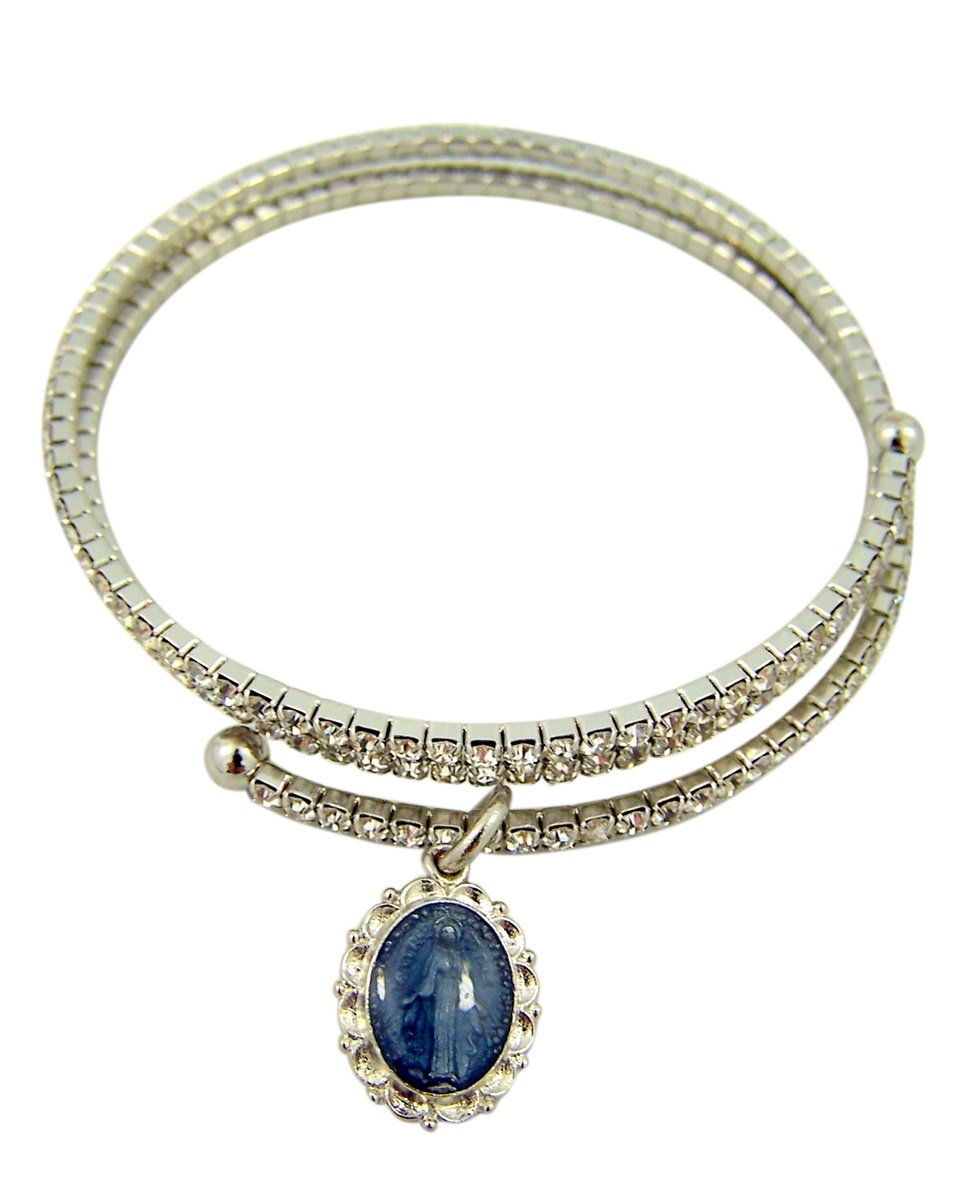Crystal Bangle Bracelet with Blue Enamel Sterling Silver Miraculous Medal, One Size