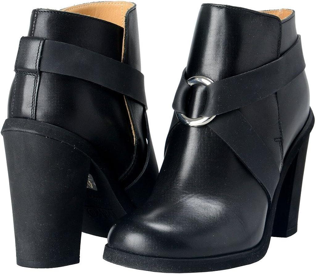 Maison Margiela MM6 Womens Black Leather Heeled Ankle Boots Shoes