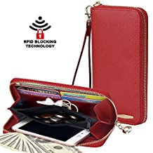 COCASES Clutch Wallet RFID Protection Women Leather Card Holder Zipper Purse Handbag (red)
