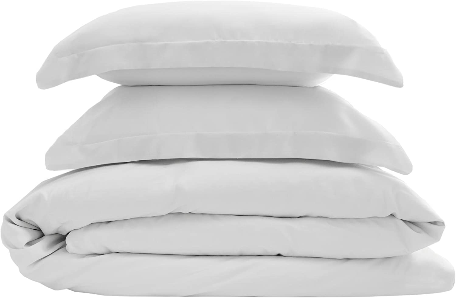Elite Home Products 300-Thread-Count 100% Rayon Bamboo Duvet Cover & Sham 3-Piece Set, Sateen Weave & Luxuriously Silky Soft, Twin, White