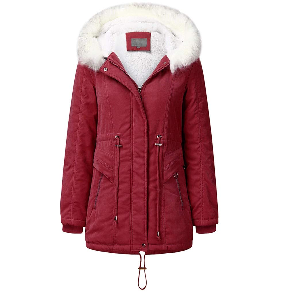 Pandaie Women Winter Jacket Parka Coat Fur Hooded Warm Lined Plush Quilted Down Jacket Trench Coat Red by Pandaie