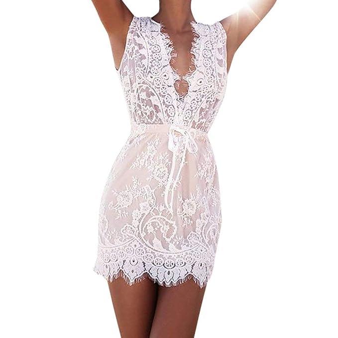 ab1604e6c01e POLP Vestidos Cortos Mujer Verano Vestidos de Encaje Blanco Cuello ...