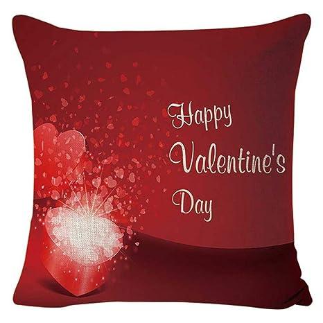 HUAHAO día de San Valentín Funda de Almohada Lino, Funda de ...