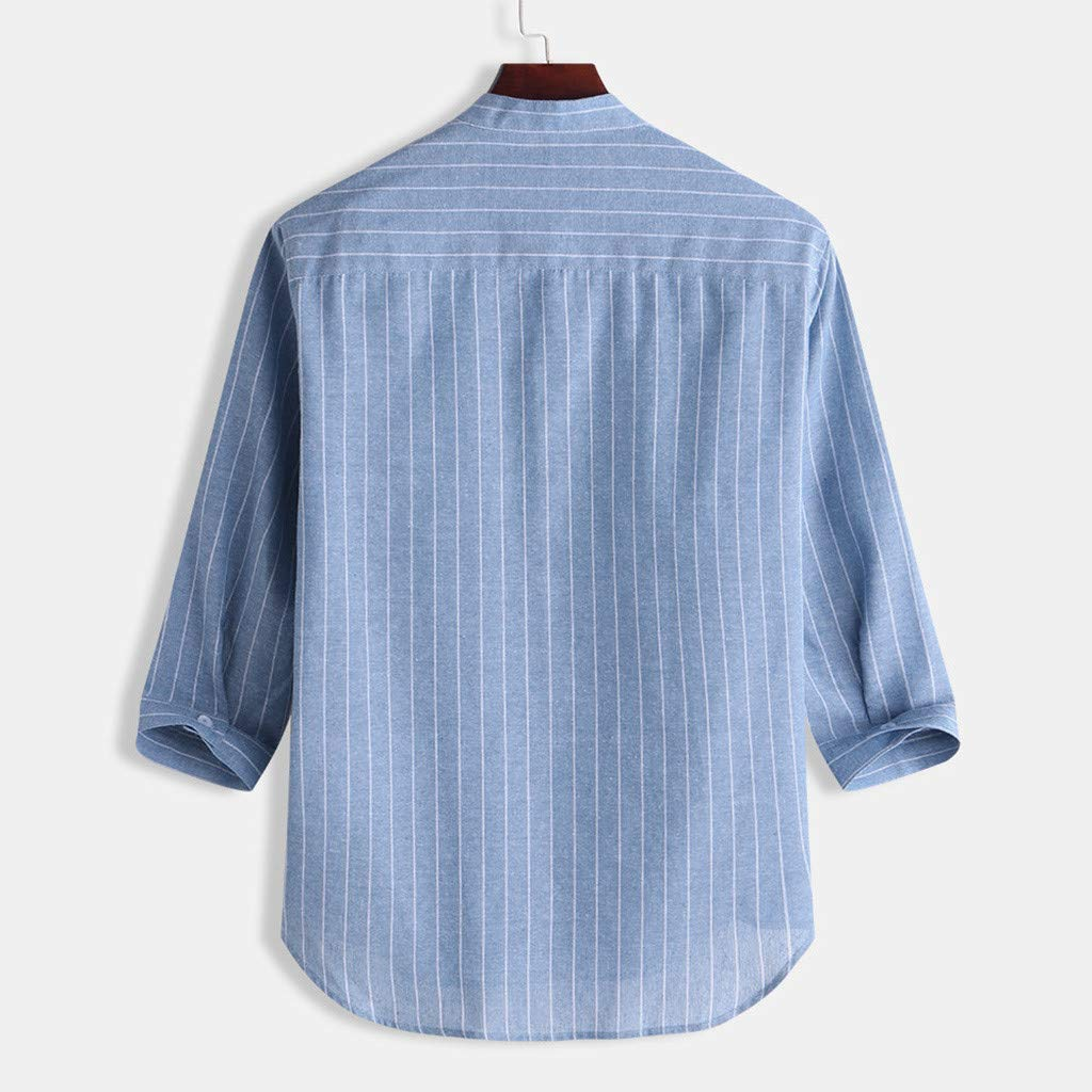Mens Casual Linen Shirt Tronet Summer Mens Casual Striped Stand Collar 7 Points Sleeve Button Cotton Shirt Top