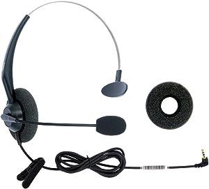 DailyHeadset 2.5 mm Jack Hands Free Headset Over Ear Headphones for Cordless Home Phones Corded Landline Telephones