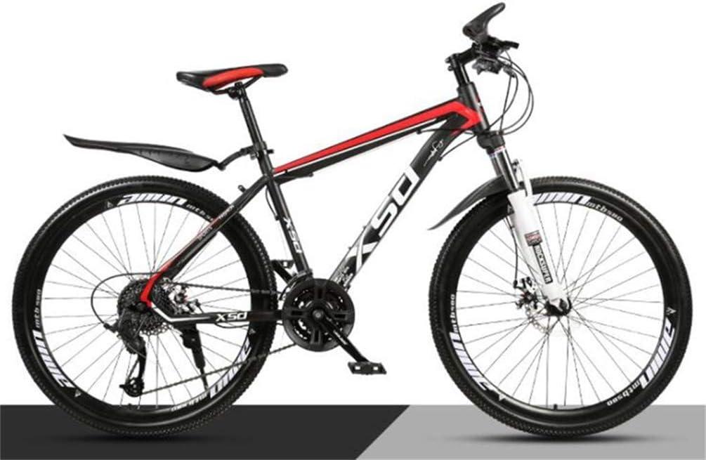 WJSW Bicicleta de montaña con Ruedas de 26 Pulgadas para Adultos, Bicicleta Todoterreno para Estudiantes Todoterreno (Color: Negro Rojo, tamaño: 21 velocidades ...