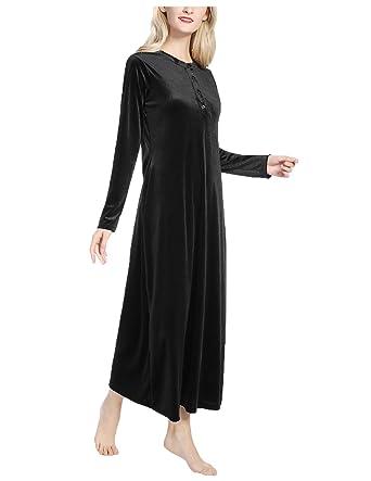 Button-up Maxi Nightgown Women s Long Sleeves Fleece Sleepwear Black Small 146aa36e6