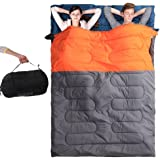 """Huge Double Rectangular Sleeping Bag, BESTEAM 2 Person Camping Hiking 86.6""""x57.1"""" W/2 Pillows (Orange and Grey)"""
