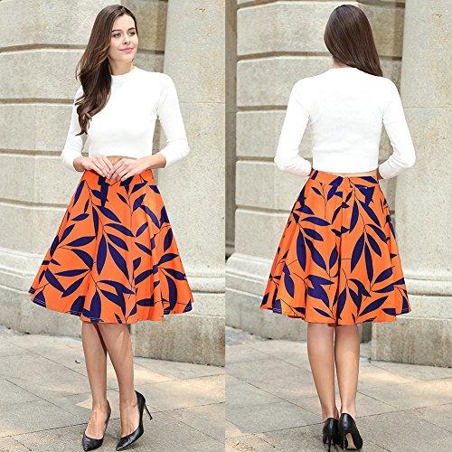 Ruiyige mujeres 3D dejar impresión alta cintura plisada falda Midi patinador mini vestido Amarillo