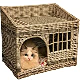 WINGOFFLY Two Level Rattan Wicker Cat Houses Four Seasons Square Pet Bed for Cat Small Dog Rabbit 19''x13''x16.5'', Off-White