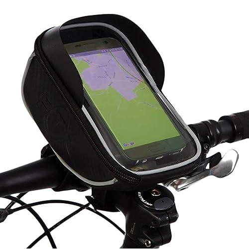 FIGEMN Sac de Guidon/Étui/Housse Imperméable avec Emplacement pour Téléphone Smartphone Écran Tactile sous 6,0 Pouces (avec la Visière) pour VTT Vélo de Route Vélo de Ville Vélo Pliant etc