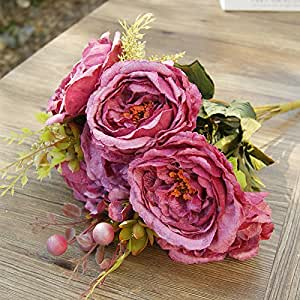 Artificial plants artificial flowers,Single European Peony flower artificial flower silk flower living room the table overall flower decoration decorative artificial flowers , C