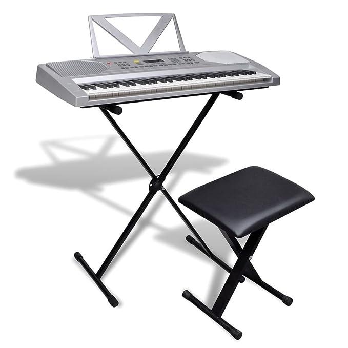 vidaXL 61 Teclas Piano Eléctrico +Atril +Soporte Ajustable Teclado Musical Apoyo Músico: Amazon.es: Instrumentos musicales