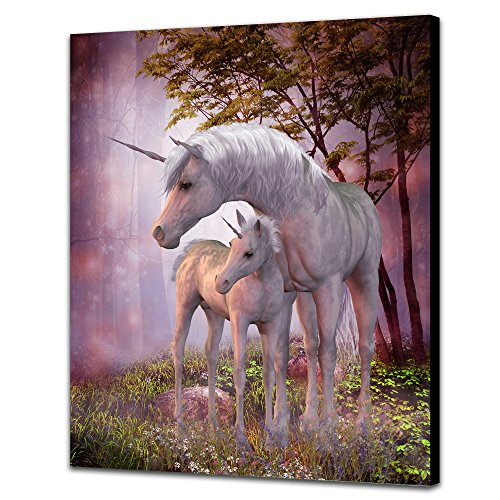 NAN Wind Unicorn Art Prints On Canvas Animal Painting Magical Unicorn & Foal in Forest Poster for Home Decor 20 x 24inch Canvas No Frame