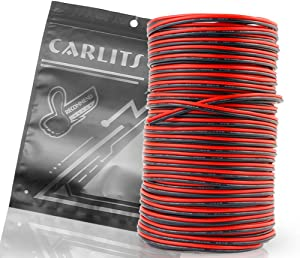 CARLITS 20AWG 66ft Extension Cable Wire Cord 20m Stranded Tinned Copper for Led Strips Single Color 3528 5050 2835