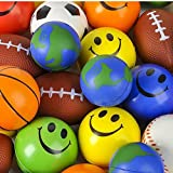 Kidsco Stress Ball Toy Assortment - 25 Pieces - Cool and Fun Squishy and Relax Toy Stress Reliever Balls - Great Party Favor, Party Bag Stuffer, Giveaways, Novelty Toys