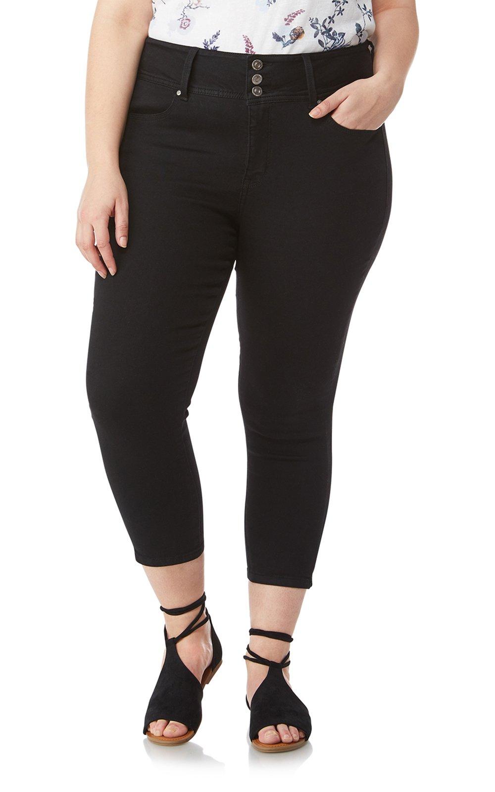WallFlower Women's Plus Size InstaSoft Sassy Denim Capri Crop in Noir, 22 Plus