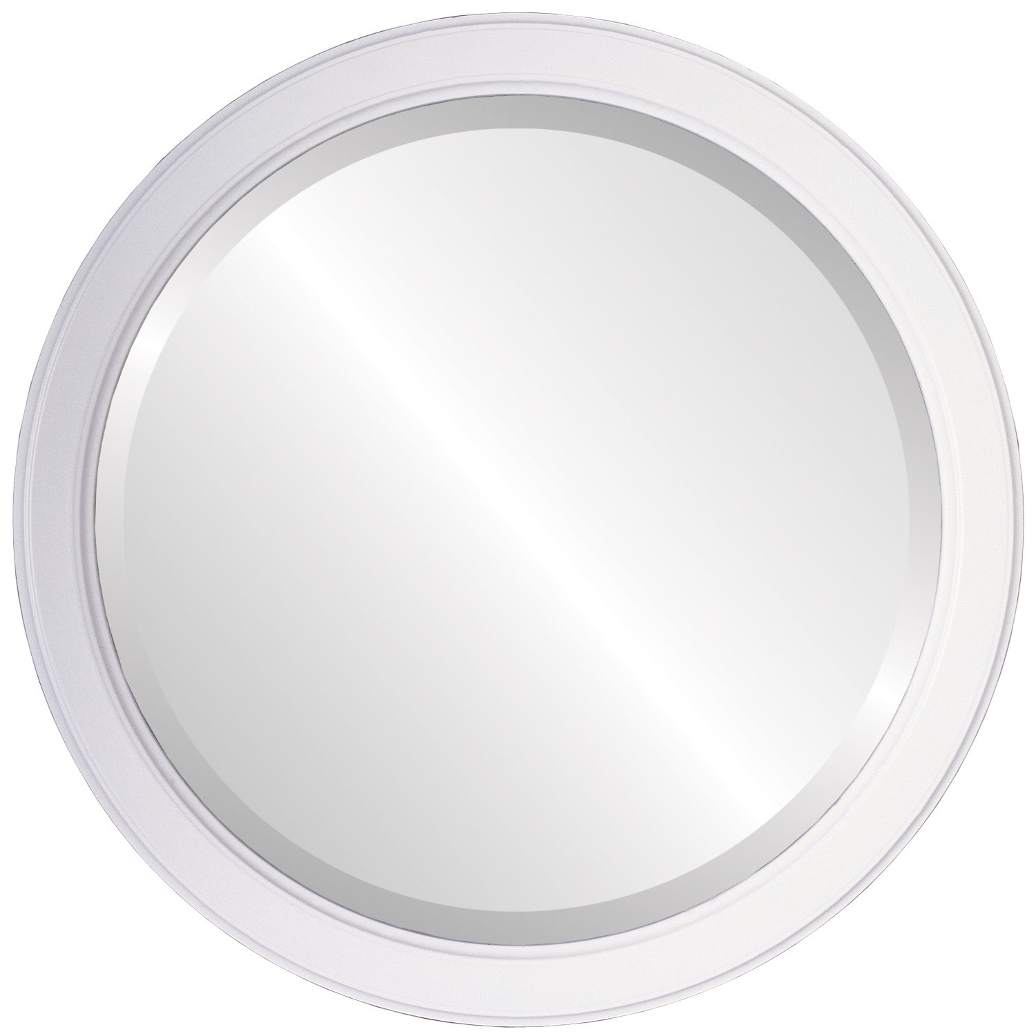 Decorative Mirror for Wall | Framed Round Beveled Wall Mirror | Toronto Style - Linen White - 26x26 outside dimensions