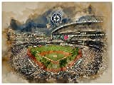 Seattle Mariners Poster Watercolor Art Print 12x16 Wall Decor