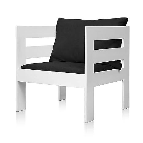 SUENOSZZZ - Sofa Jardin de Madera de Pino Color Blanco, MEDITERRANEO Mod. sillón, Sillon cojín Tela Color Negro. Muebles Jardin Exterior. Silla para ...
