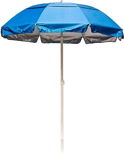 6' Solar Reflective Beach Umbrella Color: Pacific Blue / Silver