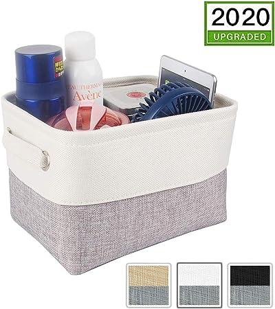 Mangata Cestas de almacenaje Ropa, Caja almacenaje Tela de Lona con Asas para estantes, Juguetes (Plegable, Gris) (Blanco Gris, Pequeña): Amazon.es: Hogar