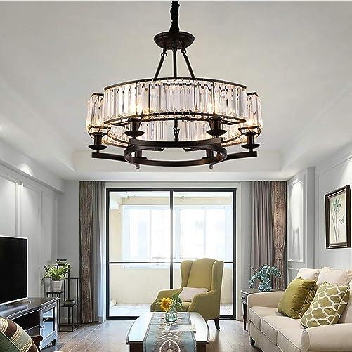Best living room chandelier: Healer 25 inch Crystal Chandelier Hanging Lighting Fixtures Semi Flush Mount Matte Black Finish