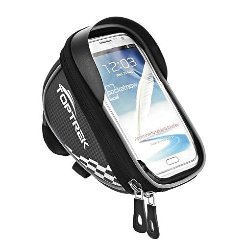 Toptrek Bike Frame Bag Cycling Pannier Top Tube Waterproof Handlebar Bags for Cellphone below 5.5 inch
