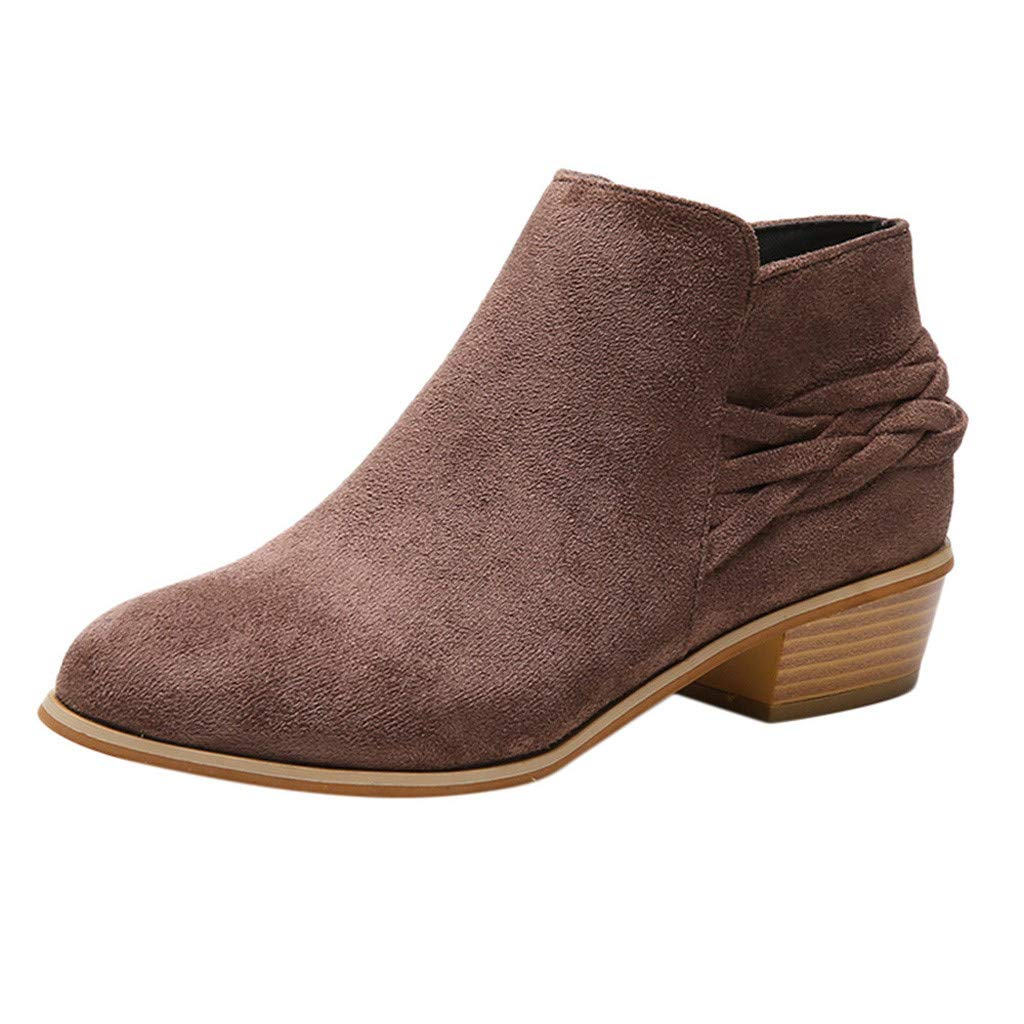 Clearance! Swiusd Women's Cork Low Heel Booties Comfy Retro Pointed Toe Zip Closure Single Shoes Flock Leather Boots Shoes (Brown, US 8) by Clearance! Swiusd