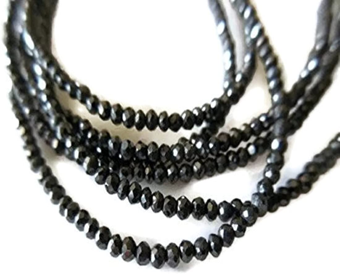Beautiful Faceted Black Diamond Beads Rondelle Shape 1.5-2mm 100/% Natural Beads 15 Strand Wholesale price