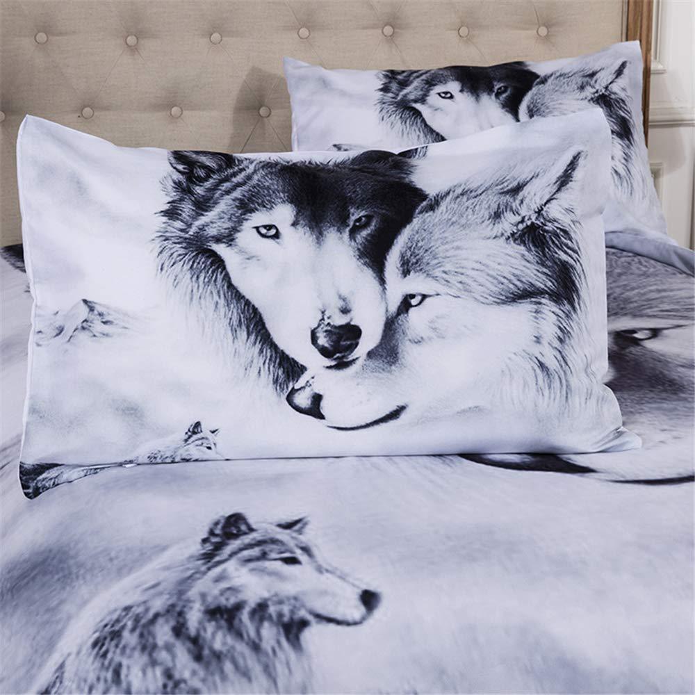 1.2M Bed Loup-Garou Cool Polyester-Coton Housse De Couette 3 Pi/èces 1 Housse De Couette + 2 Taies doreiller 48x74cm CHAOSE Ensemble De Literie Tigre Blanc Couple de Loup, 140x200cm